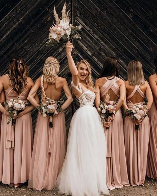 Blush multi-wear bridesmaid dresses