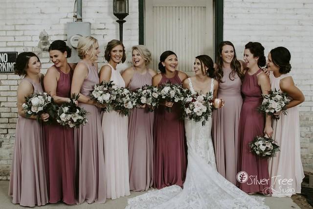 Mauve and dusty rose fall bridesmaid dresses