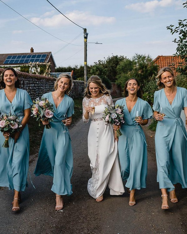boho blue bridesmaid dresses