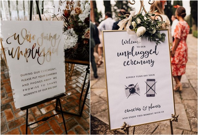 No Cell Phone Unplugged Wedding Signs