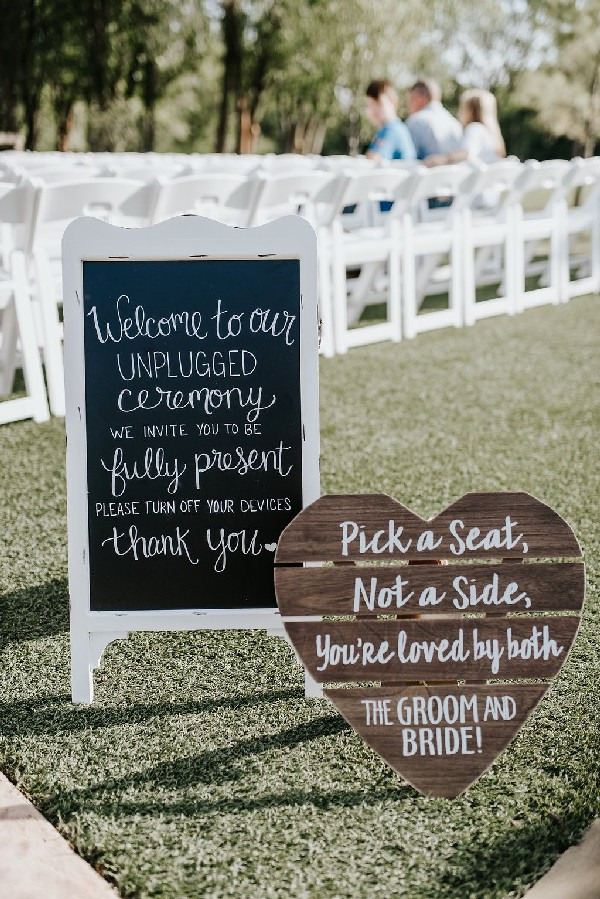 unplugged ceremony chalkboard sign