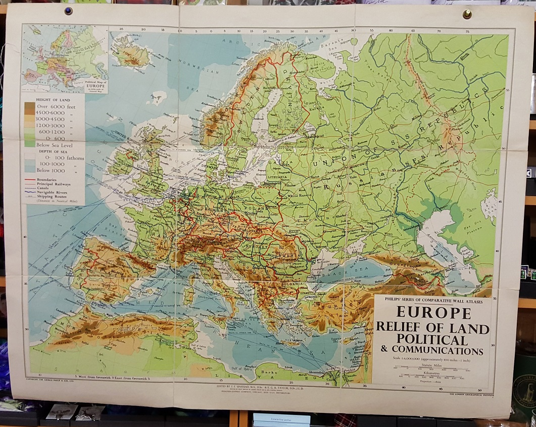 Philips  Comparative Wall Atlas of Europe   Relief of Land and     Image for Philips  Comparative Wall Atlas of Europe   Relief of Land and  Communications