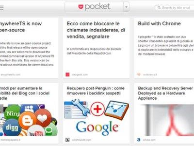 Pocket estensione Chrome per bookmark visuale