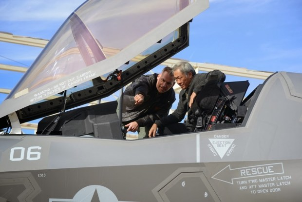 Singapore's Defence Minister, Dr Ng Eng Hen, with the F-35B Joint Strike Fighter at Luke AFB.