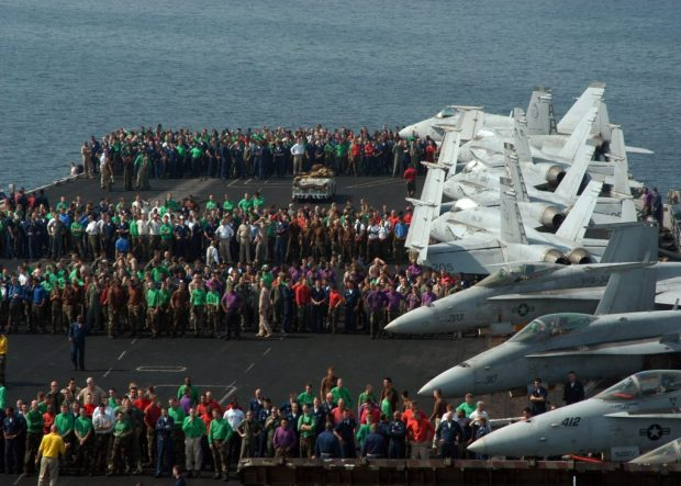 An average aircraft carrier houses about 5000 personnel