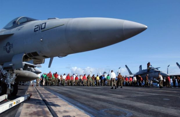 Flying on and off an aircraft carrier can be dangerous
