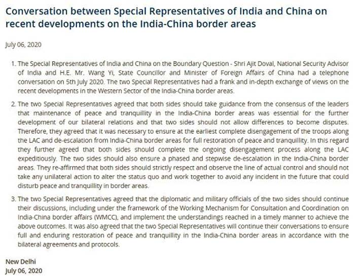 MEA statement on India China troop withdrawal.