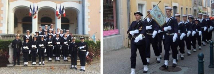 Le détachement de la PMM Lyon devant l'hôtel de Ville de Condrieu, avant le traditionnel défilé dans les rues de la commune.