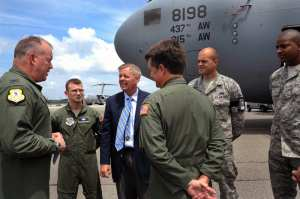 United States Sen. Lindsey Graham from South Carolina speaks with leadership and Airmen upon his arrival, May 29, 2012, to Joint Base Charleston, S.C. Graham visited the base to have an open forum with Joint Base Charleston leadership. U.S. Air Force photo by Airman 1st Class Ashlee Galloway