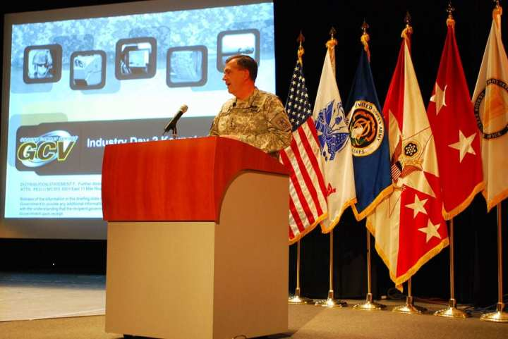 Vice Chief of Staff of the Army Gen. Peter W. Chiarelli addresses over 200 industry representatives at the second Ground Combat Vehicle Industry Day held in Warren, Mich., Nov. 24, 2009. (U.S. Army photo by Staff Sgt. Margaret C. Nelson, OCPA)