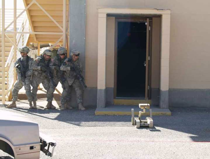 The SUGV checks a room during an AETF demonstration. The SUGV provides situational awareness to the soldiers via live video. U.S. Army photo