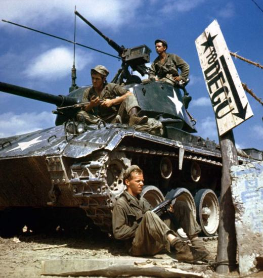 The crew of a M24 Chaffee tank along the Naktong River front during the Korean War, Aug. 17, 1950. The Chaffee was not intended for tank-to-tank fighting and struggled against North Korean T-34s. DoD photo
