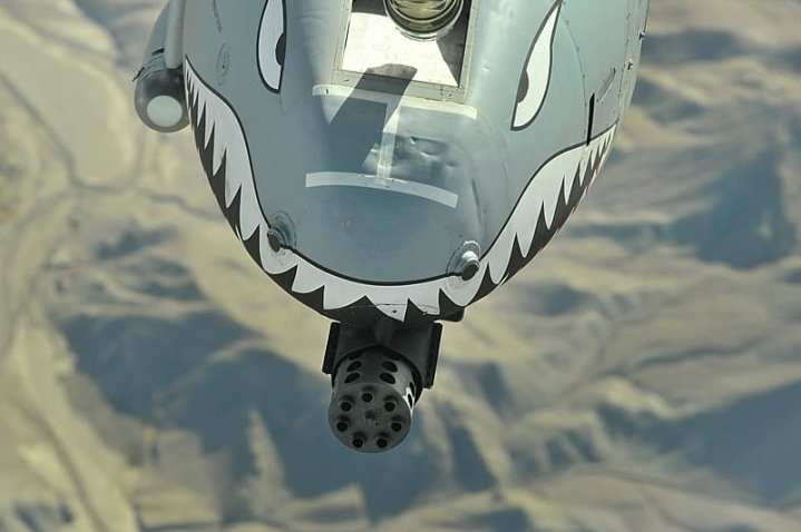 The business end of a U.S. Air Force A-10 Thunderbolt II over Afghanistan. U.S. Air Force photo by Staff Sgt. Aaron Allmon.
