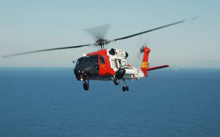 A U.S. Coast Guard HH-60 Jayhawk flies over Catalina Island. The Jayhawk fleet is being upgraded to HH/MH-60T standard. U.S. Coast Guard photo.