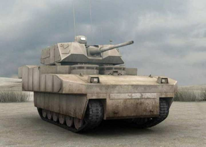 A notional infantry combat vehicle image developed during the Future Combat Systems program. GCV would use at least some of the technologies developed during the FCS program. U.S. Army image.