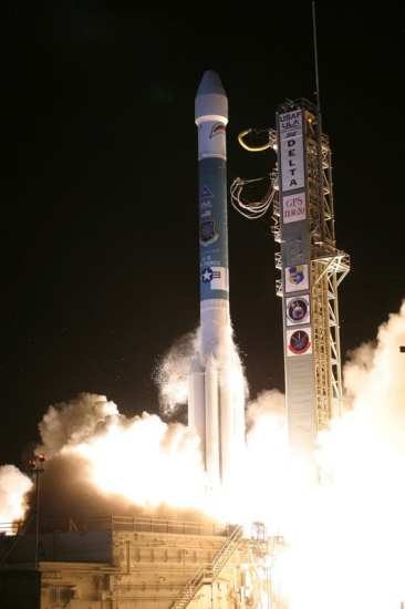 A Delta II rocket carrying the Air Force's GPS IIR-20(M) satellite lifts off from Cape Canaveral Air Force Station, Fla., at 4:34 a.m. Eastern Daylight Time March 24. Space systems operators with the 2nd and 19th Space Operations squadrons at Schriever Air Force Base, Colo., took control of the new satellite 68 minutes after launch.  United Launch Alliance photo by Carleton Bailie