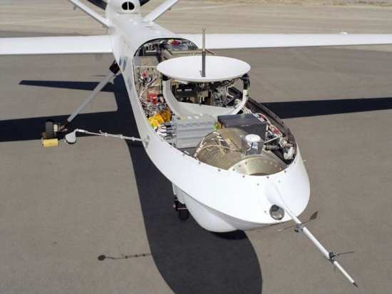 A dish antenna for communications with a military SATCOM is mounted in the nose of a civilian version of the Reaper armed UAV. The U.S. Air Force MQ-9 Reapers and similar MQ-1 Predators operatiing over Iraq, Afghanistan, and Pakistan are piloted remotely using SATCOM links to control centers at Creech Air Force Base, Nev., and Langley Air Force Base, Va. NASA Dryden Flight Research Center photo.