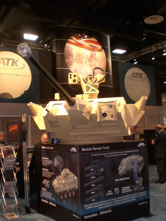 ATK's Modular Remote Turret (MRT) at the Association of the U.S. Army annual meeting and exhibition. Photo by Scott R. Gourley.