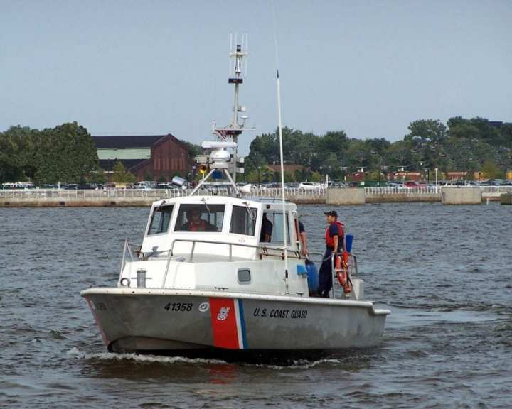 A 41-foot Coast Guard utility boat maneuvers at Penn's Landing, Philadelphia, Pa., July 24, 2005, for public display during the America Waterway Watch Awareness Program. USCG photo by Richard Valier, USCGAUX