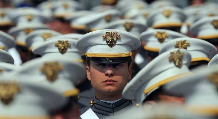 A U.S. Army cadet attends a commencement ceremony at the U.S. Military Academy at West Point, N.Y., May 23, 2009. DoD photo by Master Sgt. Jerry Morrison, U.S. Air Force