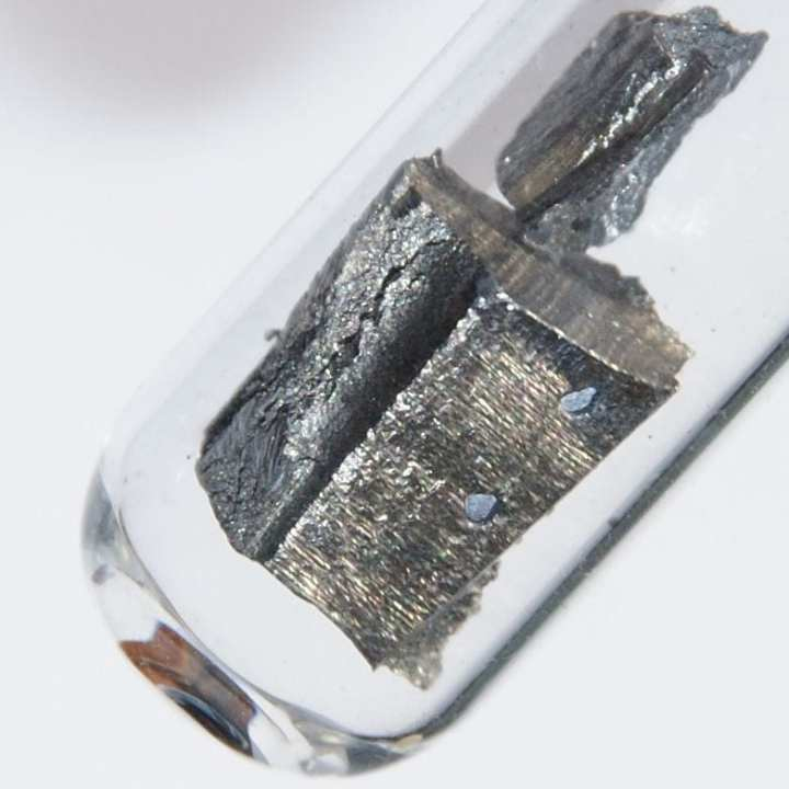 Five grams of ultrapure neodymium under argon. Photo courtesy of http://images-of-elements.com/