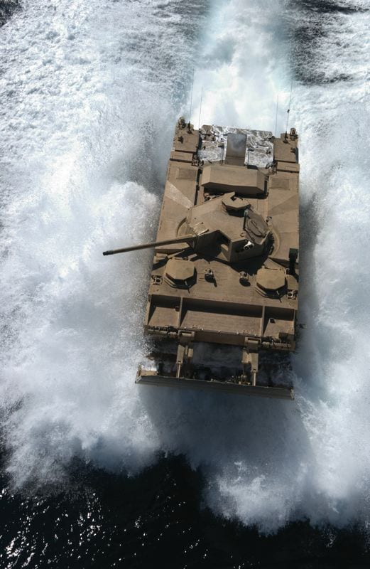 "The Marine Corps' Expeditionary Fighting Vehicle (EFV) is one of the ""big-ticket"" items that Secretary of Defense Robert M. Gates has cut from the budget. USMC photo courtesy of the EFV Program Office"