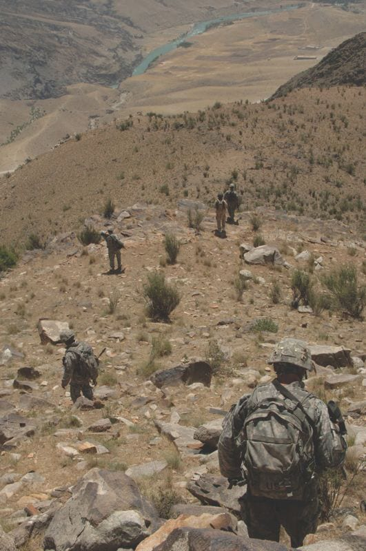 Headed Down? U.S. soldiers walk down the side of a mountain outside of Forward Operating Base Kalagush, Afghanistan, June 19, 2007, during a foot patrol to an observation post overlooking a nearby village. The soldiers were assigned to Charlie Company, 1st Battalion, 158th Infantry Regiment, Arizona Army National Guard. While proposals for budget cutting vary, the consensus is that the U.S. defense budget is going to shrink in real terms in coming years. U.S. Army photo by Staff Sgt. Isaac A. Graham