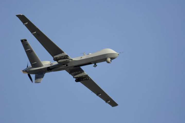 MQ-9 Reaper in flight armed