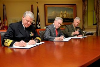 CNO Roughead, SECNAV Mabus, and Commandant Amos sign TACAIR MOU