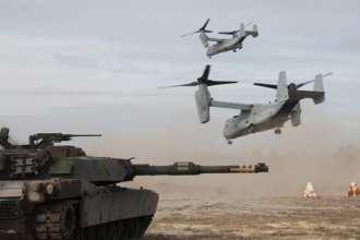 USMC Abrams tank and MV-22
