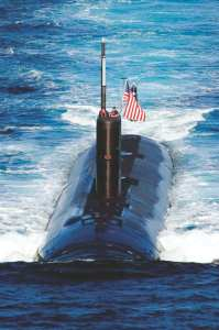 The Los Angeles-class attack submarine USS Tuscon (SSN 770) transits the Sea of Japan (also known as the East Sea) while leading a 13-ship formation. The Republic of Korea and the United States conducted the combined alliance maritime and air readiness Exercise Invincible Spirit in the seas east of the Korean peninsula from July 25-28, 2010. U.S. Navy attack submarines are among the counters to a growning Chinese threat. U.S. Navy photo by Mass Communication Specialist 3rd Class Adam K. Thomas