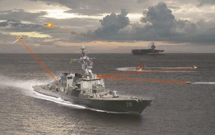 A future maritime laser weapon system could radically lower the cost exchange ratio in defending against missiles or small boats, but the beams would not likely be visible as they are in this conceptual imagery. Artist rendering by Northrop Grumman