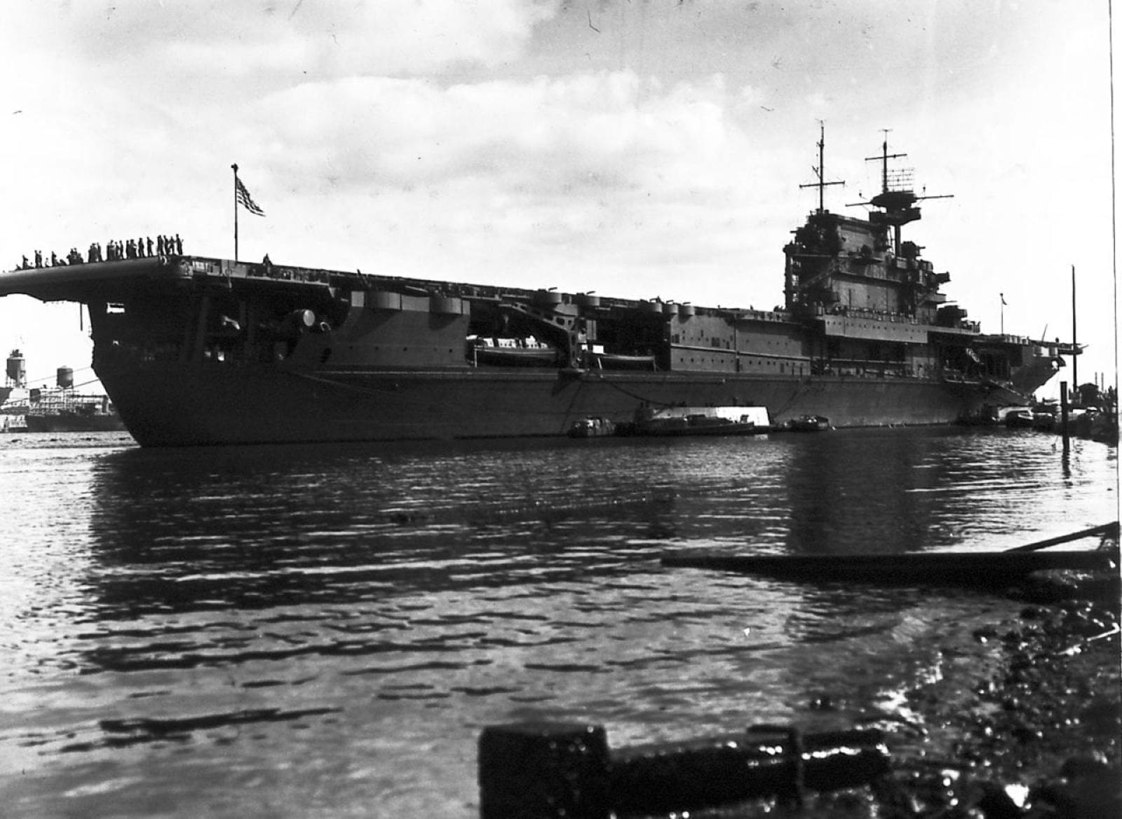 Enterprise Moored at Ford Island, Late May 1942
