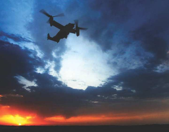 A U.S. Air Force CV-22 Osprey from the 8th Special Operations Squadron, Hurlburt Field, Fla., flies a night mission in support of Operation Enduring Freedom-Afghanistan. U.S. Army photo
