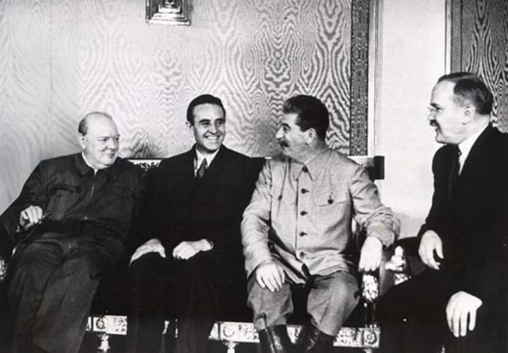 Prime Minister Winston Churchill and Soviet premier Josef Stalin