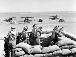 Arab Legionnaires guard the landing ground