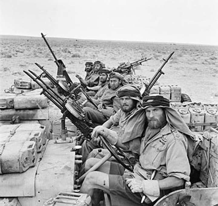 Special Air Service Jeeps after a long patrol, North Africa, World War II
