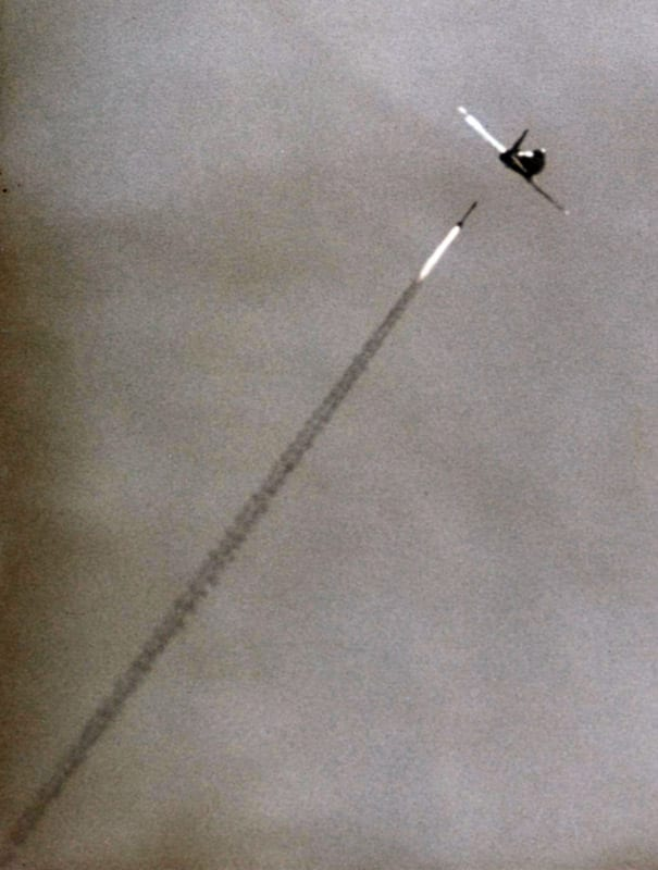 AIM-9 Sidewinder about to hit a QF-86 at China Lake