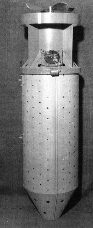 """An actual """"bat bomb,"""" which housed the bats with their attached incendiary devices"""
