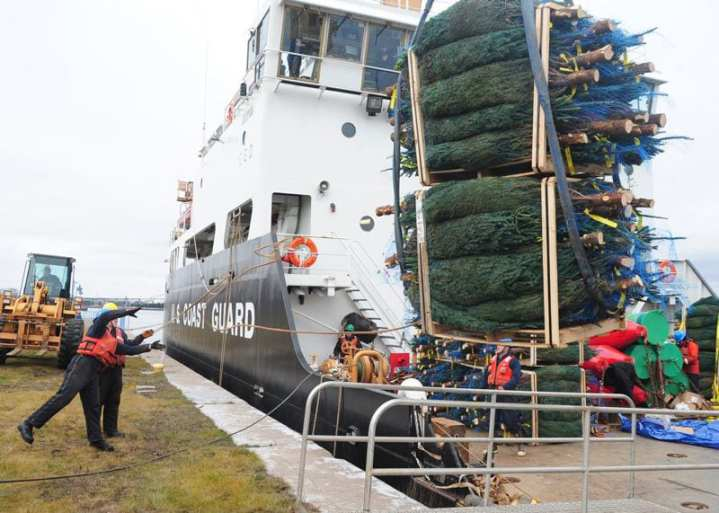 "Crewmembers aboard the U.S. Coast Guard Cutter Alder, homeported in Duluth, Minn., load pallets of Christmas trees onto the ship's buoy deck for delivery to deserving Chicago-area families. Alder was serving as Chicago's ""Christmas Ship,"" transporting trees from northern Michigan that were distributed by different charity groups. U.S. Coast Guard photo by Petty Officer 3rd Class George Degener"