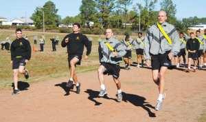 Fort Polk Army NCOs Sprinting Exercise