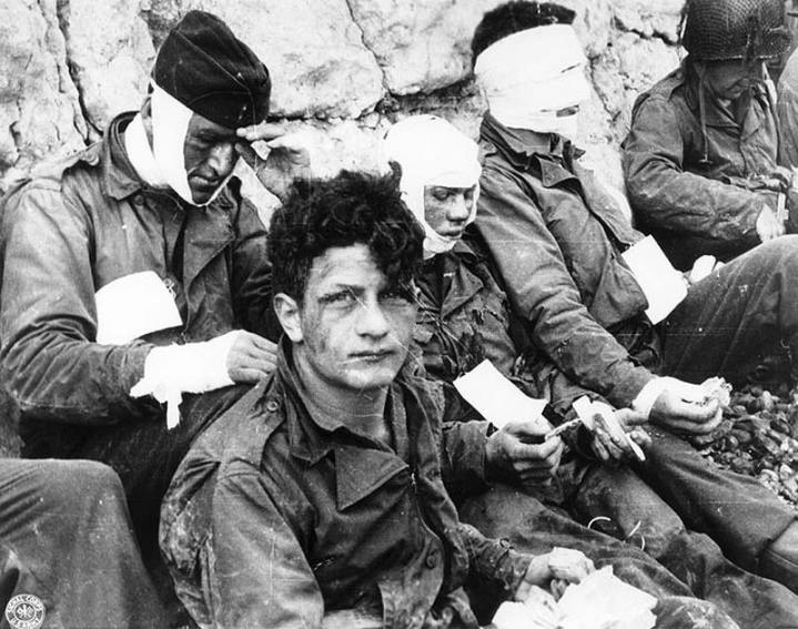 Wounded Soldiers on Omaha Beach on D-Day
