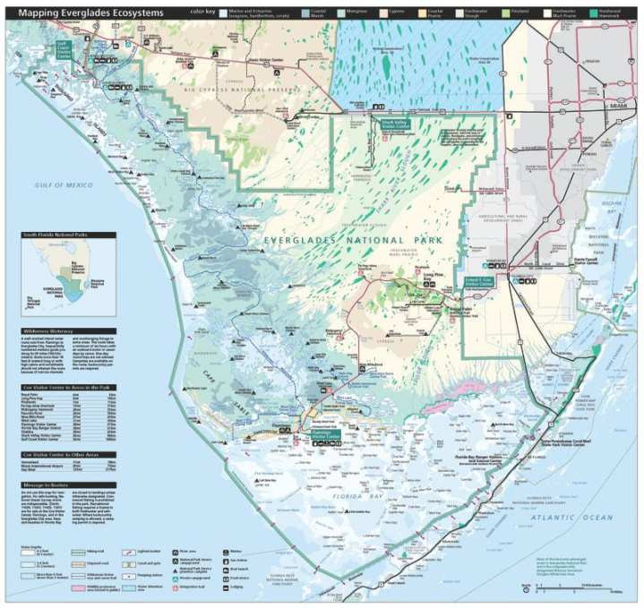 National Park Service map of Everglades National Park, Fla., which covers more than 1.5 million acres. Also shown is the Big Cypress National Preserve (upper left) and the Biscayne National Park (right). Wikimedia Commons