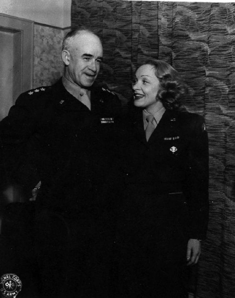Lt. Gen. Omar Bradley and Marlene Dietrich