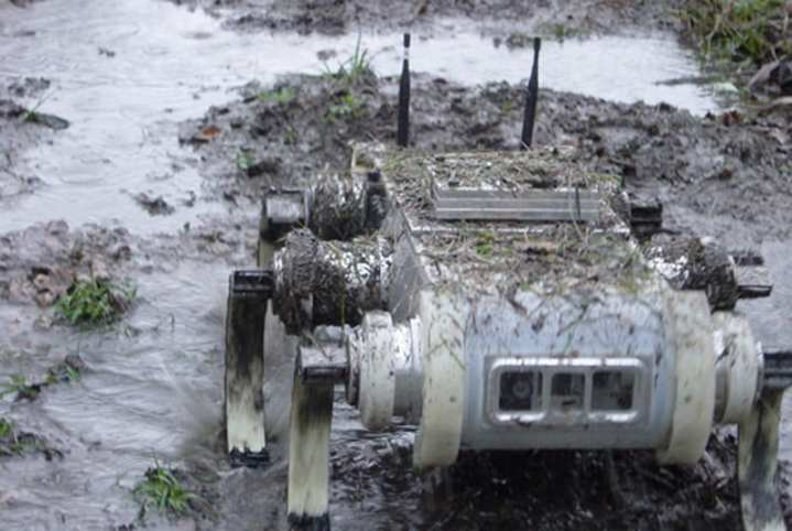 The RHex powers its way through mud with its flippers. Photo courtesy of Boston Dynamics