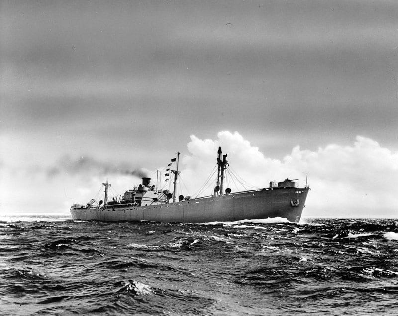 Liberty Ship At Sea