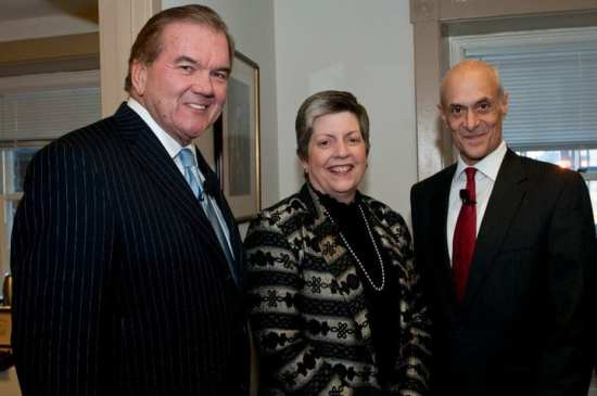 Secretaries of the Department of Homeland Security. From left to right: Former Secretary Tom Ridge, Janet Napolitano, and former Secretary Michael Chertoff. (Not pictured is former Acting Secretary James M. Loy.)
