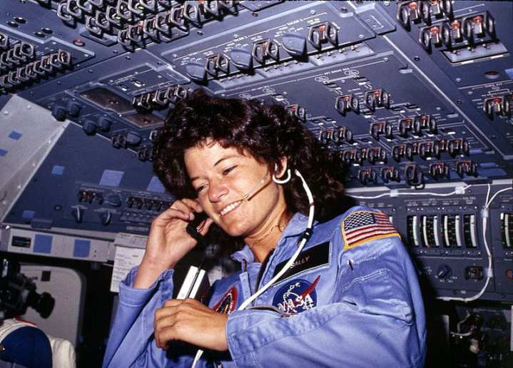 Sally Ride, America's first woman astronaut, communicates with ground controllers from the flight deck of the space shuttle Challenger during the six-day mission, June 18-24, 1983. U.S. National Archives and Records Administration photo