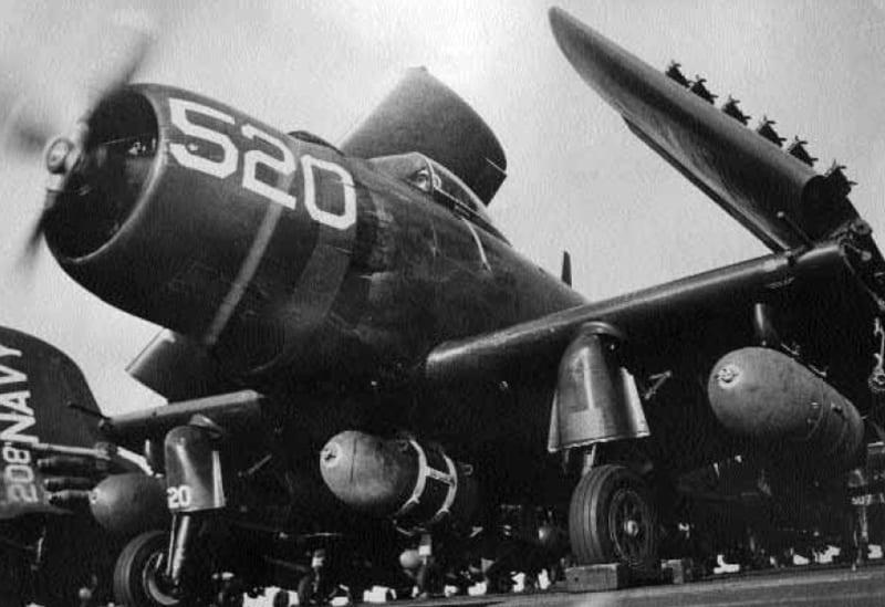 AD-4 2000-lb bombs aboard Princeton 1951