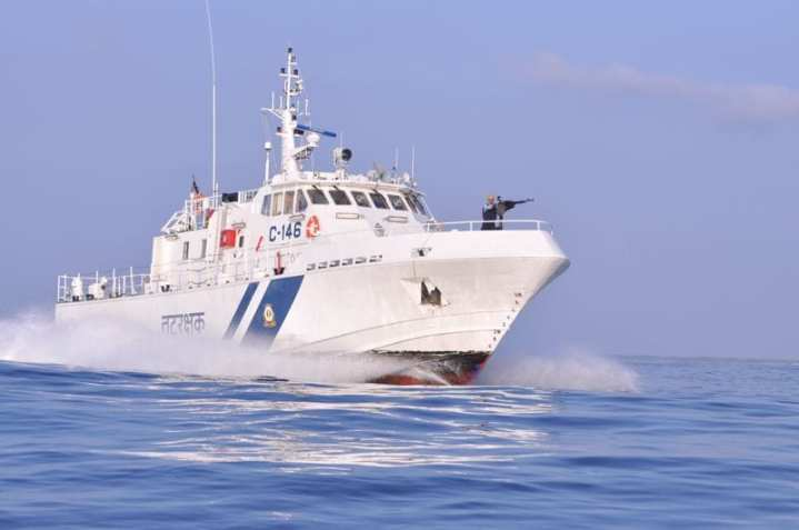 The 28-meter, 90-ton C-146 boat is one of a large number of 26-28m class high-speed interceptor boats in service or on order with the Indian Coast Guard. This example is one of a class of 11 being built by ABG Shipyard to a Thornycroft Australia/Gavin Mair design. Indian Coast Guard photo